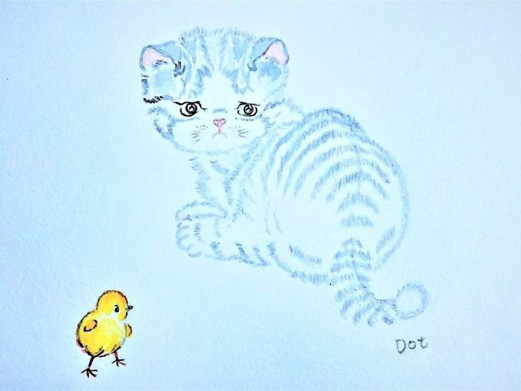 A blue kitten is crouching beside a yellow chicken, but they seem not to be thinking the same thoughts
